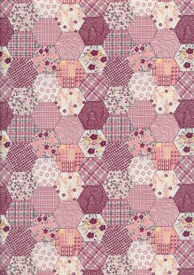 Quality Cotton Print - Red Hexagon Patchwork