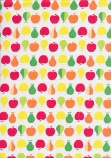 Quality Cotton Print - White Apple and Pears