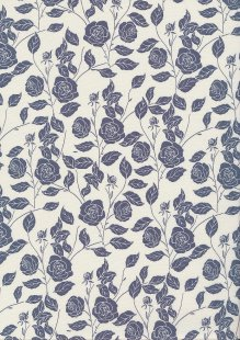 Rose & Hubble Quality Cotton Print - Grey & Cream Floral