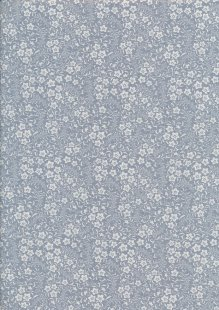 Quality Cotton Print - Cream & Blue Floral