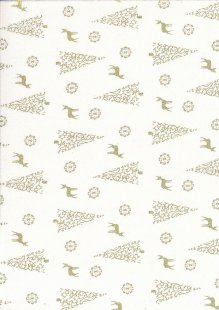 Fabric Freedom - Christmas Reindeer/Trees Gold/White