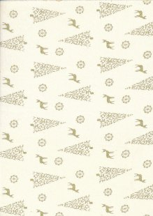 Fabric Freedom - Christmas Reindeer/Trees Gold/Cream