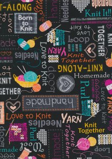 Kanvas Studio - Knit Together Words to Knit by 7874-12 Black