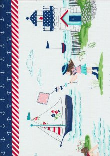 Riley Blake - Seaside Border Print C7237 NAVY