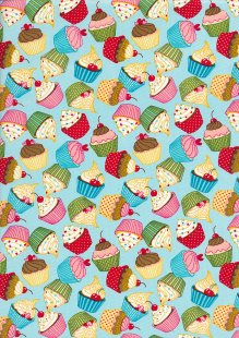 Rose & Hubble - Quality Cotton Print CP0874 Blue Cupcakes