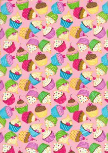 Rose & Hubble - Quality Cotton Print CP0874 Pink Cupcakes