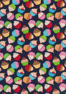 Rose & Hubble - Quality Cotton Print CP0874 Navy Cupcakes
