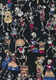 Rose & Hubble - Quality Cotton Print CP0822 Black Skeletons