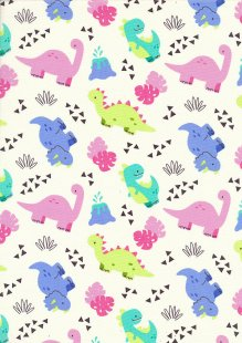Rose & Hubble - Quality Cotton Print CP0847 Ivory Dinosaurs