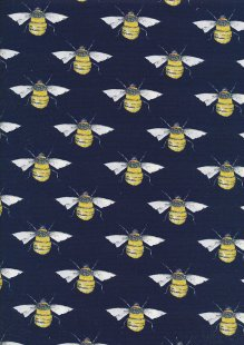 Rose & Hubble - Quality Cotton Print CP0395 Navy Bees