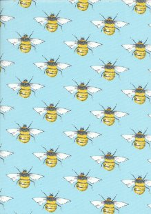 Rose & Hubble - Quality Cotton Print CP0395 Sky Bees