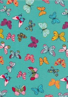 Rose & Hubble - Quality Cotton Print CP-0704 Mint Butterflies