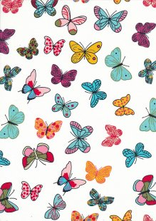Rose & Hubble - Quality Cotton Print CP-0704 Ivory Butterflies