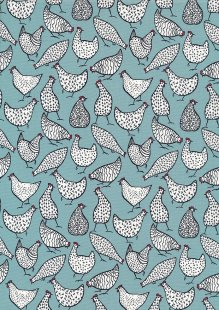 Rose & Hubble - Quality Cotton Print CP-0805 Duck Egg Chickens