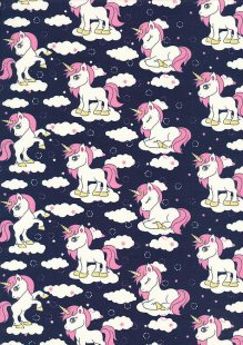 Rose & Hubble - Quality Cotton Print CP0849 Navy Unicorns