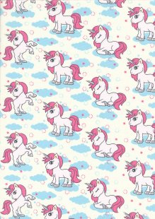 Rose & Hubble - Quality Cotton Print CP0849 Ivory Unicorns