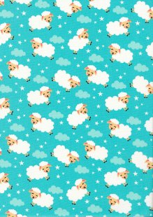 Rose & Hubble - Quality Cotton Print CP-0863 Mint Sheep