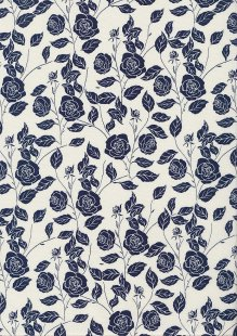 Rose & Hubble - Navy Rose On White