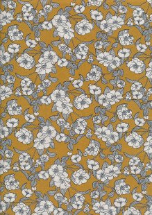 Rose & Hubble - White & Grey Rose On Yellow