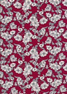 Rose & Hubble - White & Grey Rose On Red