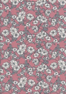 Rose & Hubble - White & Grey Rose On Pink