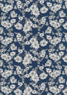 Rose & Hubble - White & Grey Rose On Blue