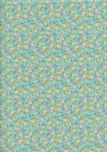 Rose & Hubble - Ditsy Floral On Turquoise
