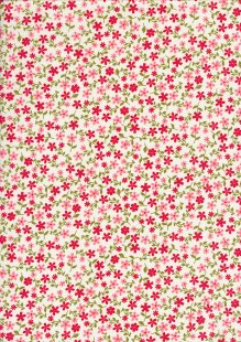 Rose & Hubble - Ditsy Red Flowers On Cream