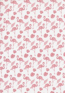 Rose & Hubble - Pink Flamingos On White