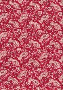 John Louden Scandi Christmas - Birds & Hearts Cream On Red 9001B
