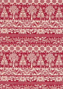 John Louden Scandi Christmas - Linear Trees & Floral Cream On Red 9000S