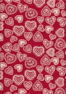 John Louden Scandi Christmas - Hearts Cream On Red 9001L