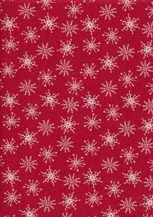 John Louden Scandi Christmas - Snowflakes Cream On Red 9001P