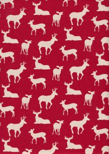 John Louden Scandi Christmas - Reindeer Cream On Red 9001E