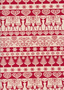 John Louden Scandi Christmas - Linear Reindeer & Trees Cream On Red 9000Q
