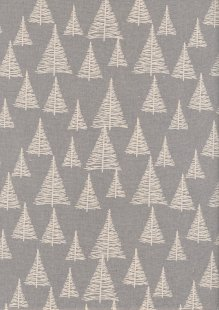 John Louden Scandi Christmas - Trees Cream On Grey 9003D