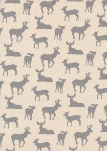 John Louden Scandi Christmas - Reindeer Grey On Cream 9002E