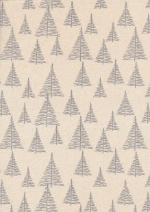 John Louden Scandi Christmas - Trees Grey On Cream 9002N