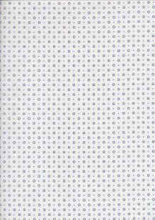 Sevenberry Japanese Ditsy Heirloom - Blue Circles & Squares On White