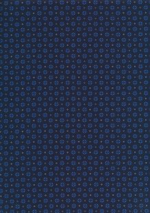 Sevenberry Japanese Ditsy Heirloom - Blue Pressed Flowers On Navy On Blue