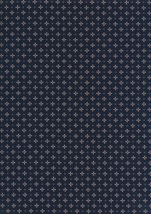 Sevenberry Japanese Ditsy Heirloom - White Crosses & Dots On Navy On Blue