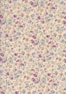 Sevenberry Japanese Ditsy Floral - Painted Posy Purple lawn