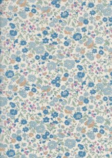 Sevenberry Japanese Ditsy Floral - Summer Garden Blue