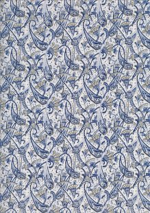 Sevenberry Japanese Ditsy Floral - Paisley Pattern Blue