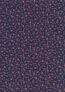 Sevenberry Japanese Ditsy Floral - Rose Bud Navy