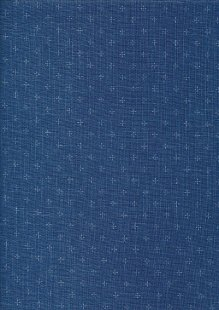 Sevenberry Japanese Linen Look Cotton - Plain Royal Blue With Cross
