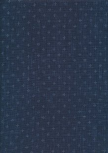 Sevenberry Japanese Linen Look Cotton - Plain Navy Blue With Cross
