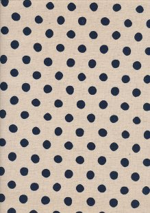 Sevenberry Japanese Linen Look Cotton -  Navy Blue Dot On Cream