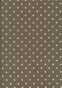 Sevenberry Japanese Linen Look Cotton - Plain Cream Spot On Grey