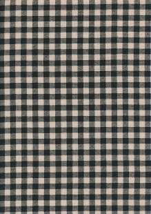 Sevenberry Japanese Linen Look Cotton - Plain Black & Cream Check
